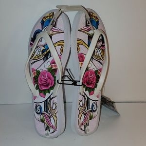 Shoes - LA Ink White flip flops with a tattoo pattern